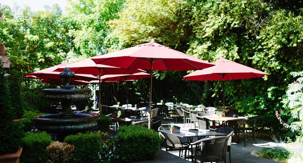 Outdoor patio seating with umbrellas over the tables